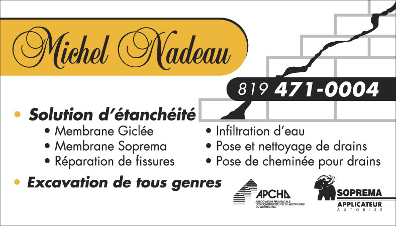 Michel Nadeau, carte d'affaires